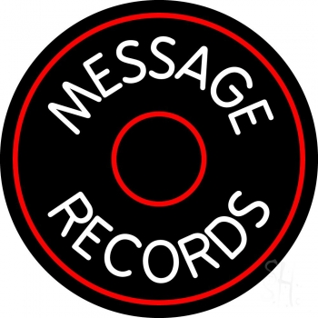 Custom White Records Block Red Border 1 Neon Sign