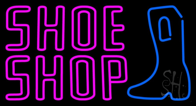 Pink Double Stroke Shoe Shop Neon Sign