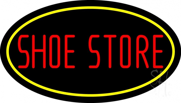 Shoe Store With Oval Neon Sign