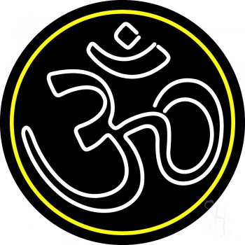 White Om With Border Neon Sign
