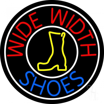Wide Width Shoes With White Border Neon Sign