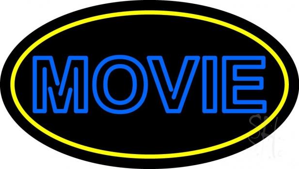 Blue Double Stroke Movie Neon Sign