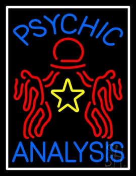 Blue Psychic Analysis With Logo Neon Sign