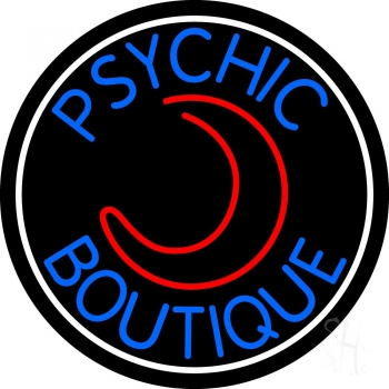 Blue Psychic Boutique White Border Neon Sign