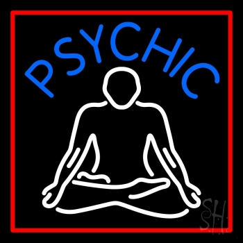 Blue Psychic Logo With Red Border Neon Sign