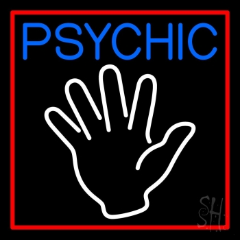 Blue Psychic Red Border Neon Sign