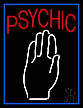 Blue Psychic With Palm Neon Sign