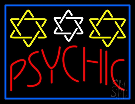 Blue Psychic With Stars Neon Sign