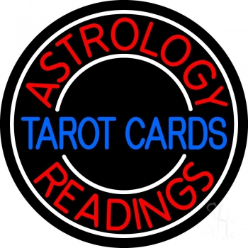 Blue Tarot Cards Red Astrology Readings Neon Sign