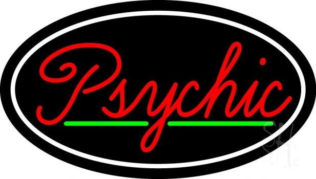 Cursive Red Psychic White Border With Green Line Neon Sign
