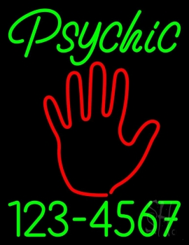 Green Psychic With Phone Number Neon Sign