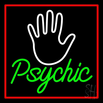 Green Psychic With Red Border Neon Sign