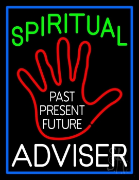 Green Spritual White Advisor With Red Palm Neon Sign