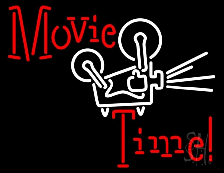 Movie Time With Logo Neon Sign