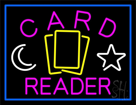 Pink Card Reader Blue Border Neon Sign