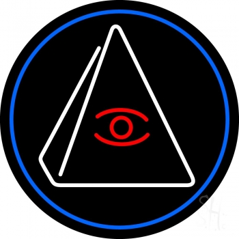 Psychic Eye Pyramid With Blue Border Neon Sign