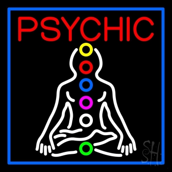 Psychic Health Blue Border Neon Sign