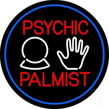Psychic Palmist Blue Border Neon Sign