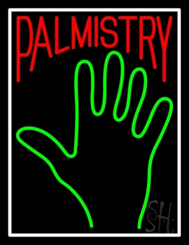Red Palmistry White Border Neon Sign