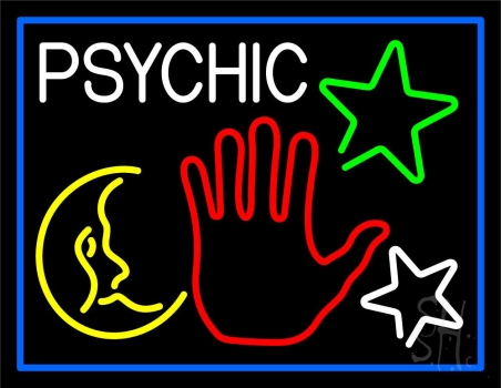 Red Palm Logo Psychic And Blue Border Neon Sign