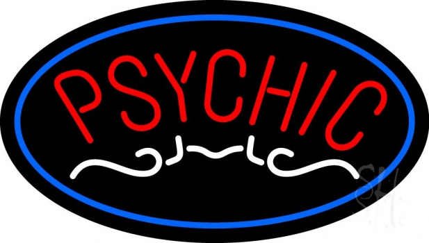 Red Psychic Blue Border Neon Sign