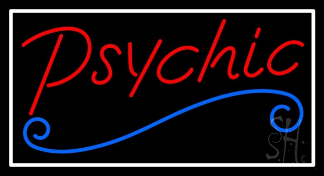 Red Psychic Blue Line White Border Neon Sign