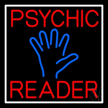 Red Psychic Reader Blue Palm With White Border Neon Sign