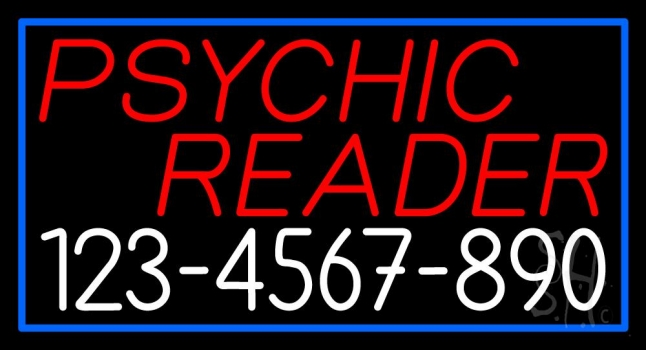 Red Psychic Reader With White Phone Number Neon Sign