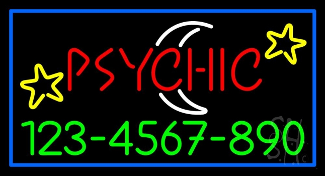 Red Psychic White Logo Phone Number Neon Sign