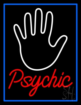 Red Psychic With Blue Border Neon Sign