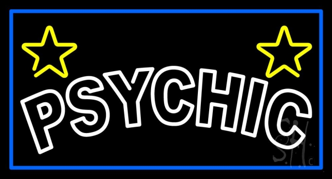 White Double Stroke Psychic Blue Border Neon Sign