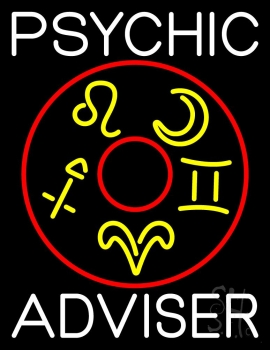 White Psychic Adviser With Logo Neon Sign