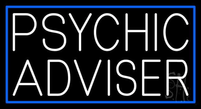 White Psychic Advisor Blue Border Neon Sign