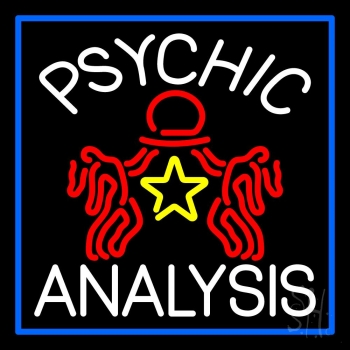 White Psychic Analysis With Logo And Blue Border Neon Sign