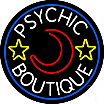 White Psychic Boutique Blue Border Neon Sign
