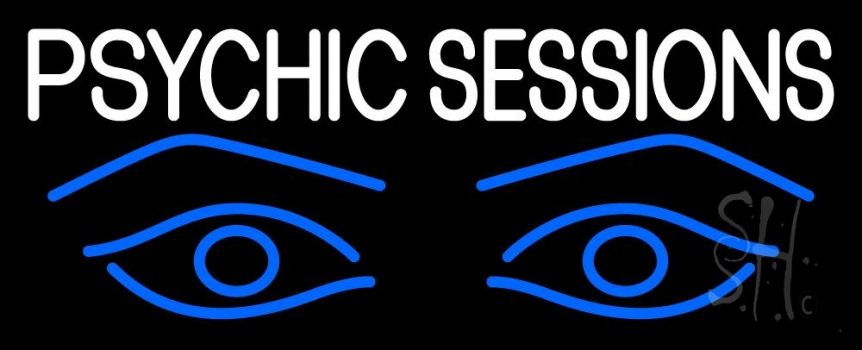 White Psychic Sessions With Blue Eye Neon Sign