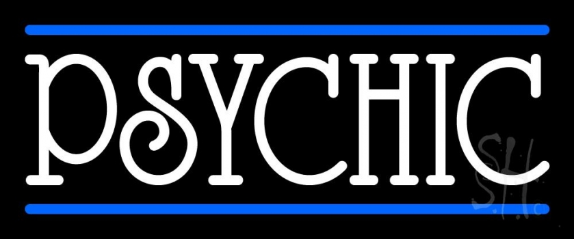 White Psychic With Blue Line Neon Sign