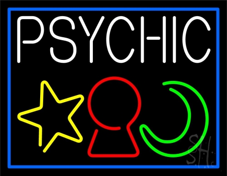 White Psychic With Logo Blue Border Neon Sign