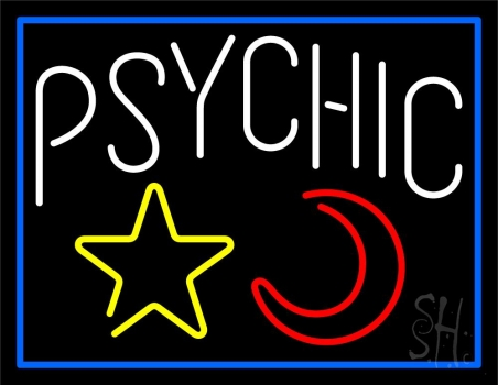 White Psychic With Moon And Star Neon Sign
