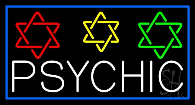 White Psychic With Stars Neon Sign