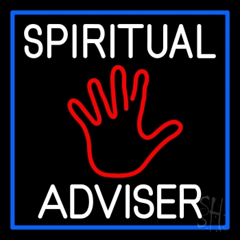 White Spiritual Advisor With Red Palm Neon Sign
