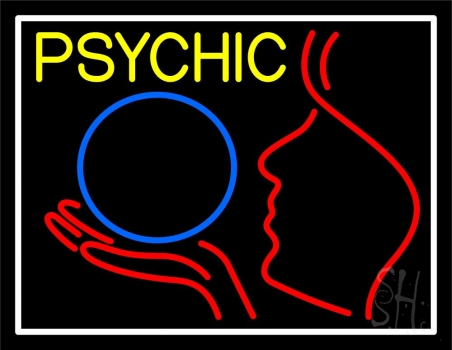 Yellow Psychic And Psychic Crystal Logo With White Border Neon Sign