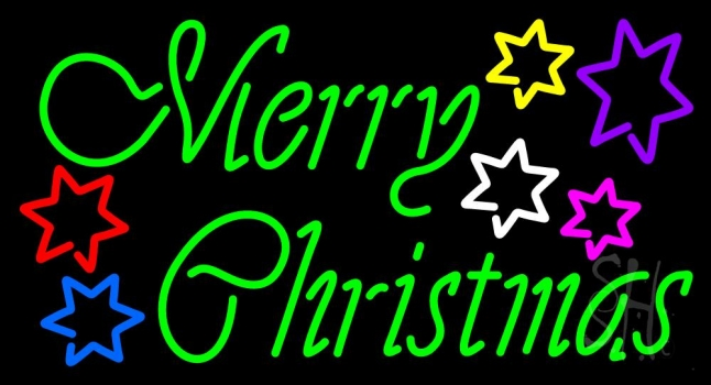 n105 12241 green merry christmas with multi color stars neon sign
