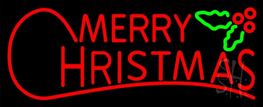 n105 12851 red merry christmas block neon sign