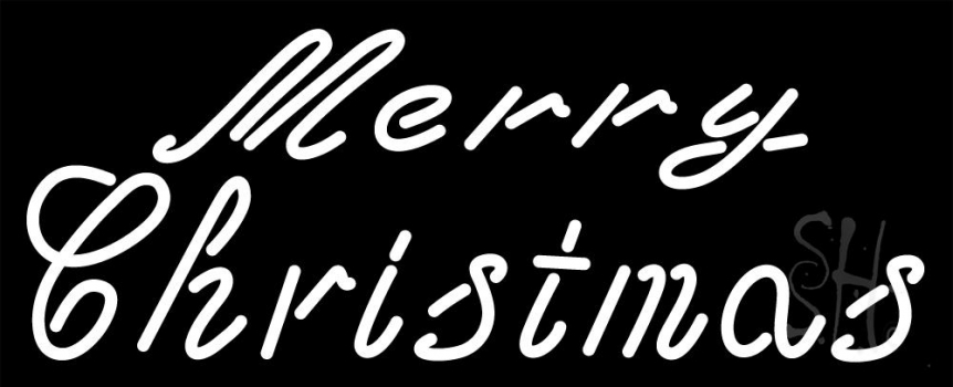 Merry Christmas In Cursive.White Cursive Merry Christmas Neon Sign