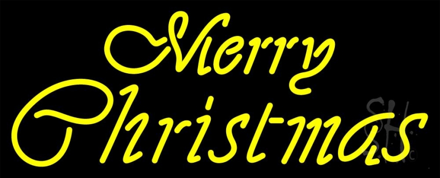 Merry Christmas In Cursive.Yellow Cursive Merry Christmas Neon Sign