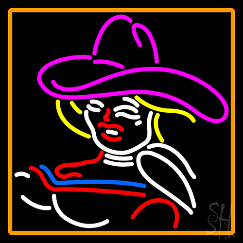 Girl With A Hat Neon Sign