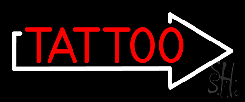 Red Tattoo With Arrow Neon Sign