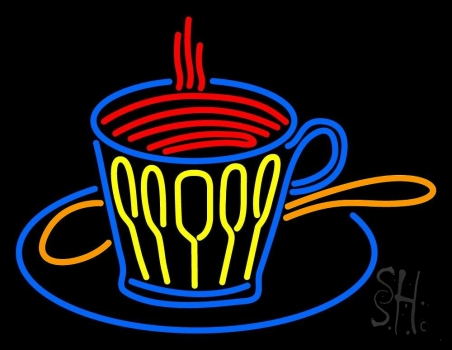 Coffee Glass With Spoon Neon Sign