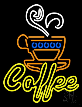 Double Stroke Yellow Coffee Neon Sign